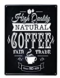 アンティーク風 デザインボード ブリキ看板 メタル L  30×40cm コーヒー ブラック
