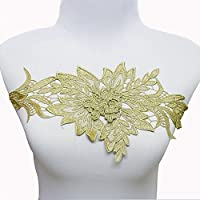 3d花柄リーフパッチゴールドメタリックトリムレースコード刺繍パッチブライダルアップリケ裁縫for DIYデザインt1612
