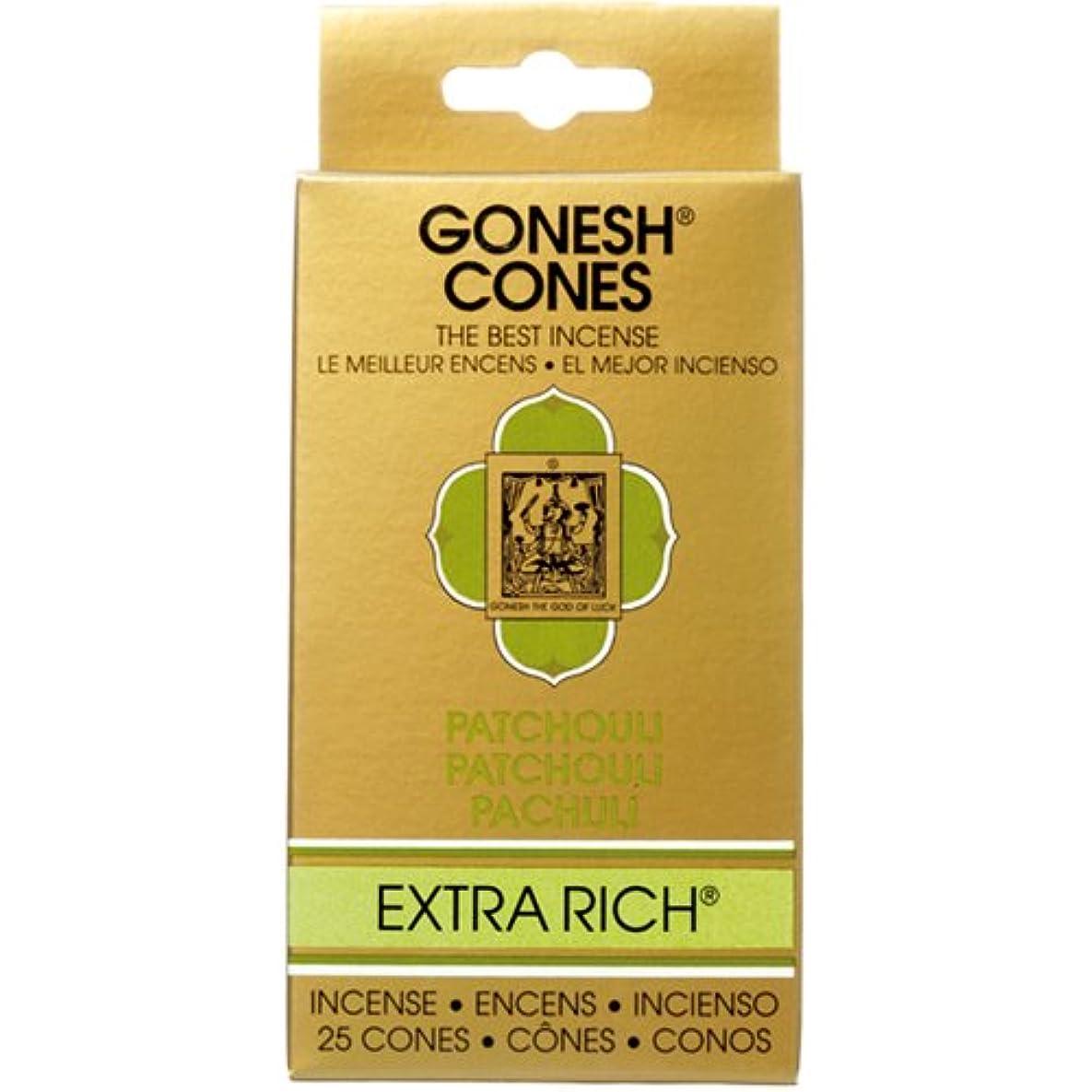 ディスカウント肉の等しいガーネッシュ(GONESH) エクストラリッチ インセンス コーン パチュリ 25個入(お香)