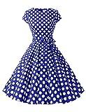 ドレッシースター 1956スイングワンピース レトロ ドレス 50年代 ロカビリー ベルト付き レディーズ ロイヤルブルー ホワイト 大柄ドット Mサイズ
