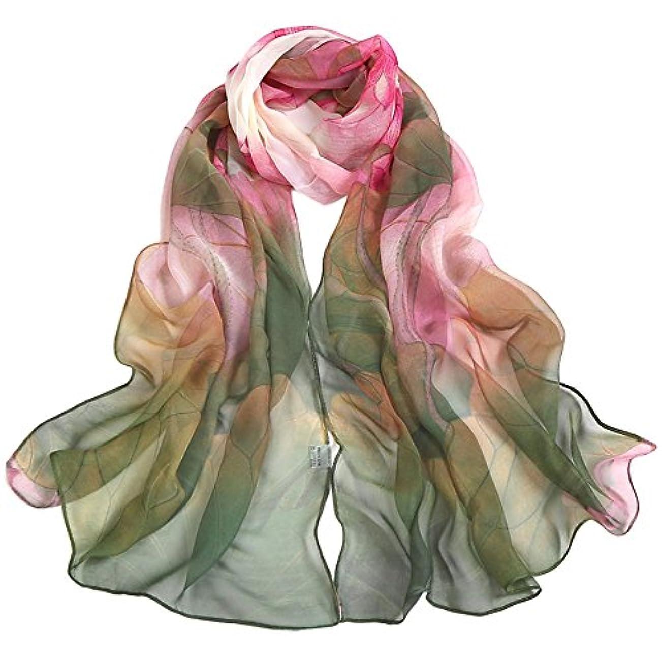 非常に怒っていますサージ飢えたレディース ファッション 花柄 日焼け止め スカーフ ビーチスカーフ サイクリングスカーフ 美しい蓮の印刷 タオル グリーン