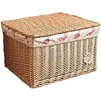 収納ボックス、籐、大型籐収納ケース籐収納バスケットボックス52 * 41 * 31cm (色 : 木の色)