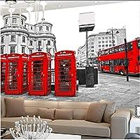Lcymt カスタムロンドン赤バスシティビュー壁紙人格レトロカフェリビングルームの背景3Dの壁壁画壁紙家の装飾-150X120Cm