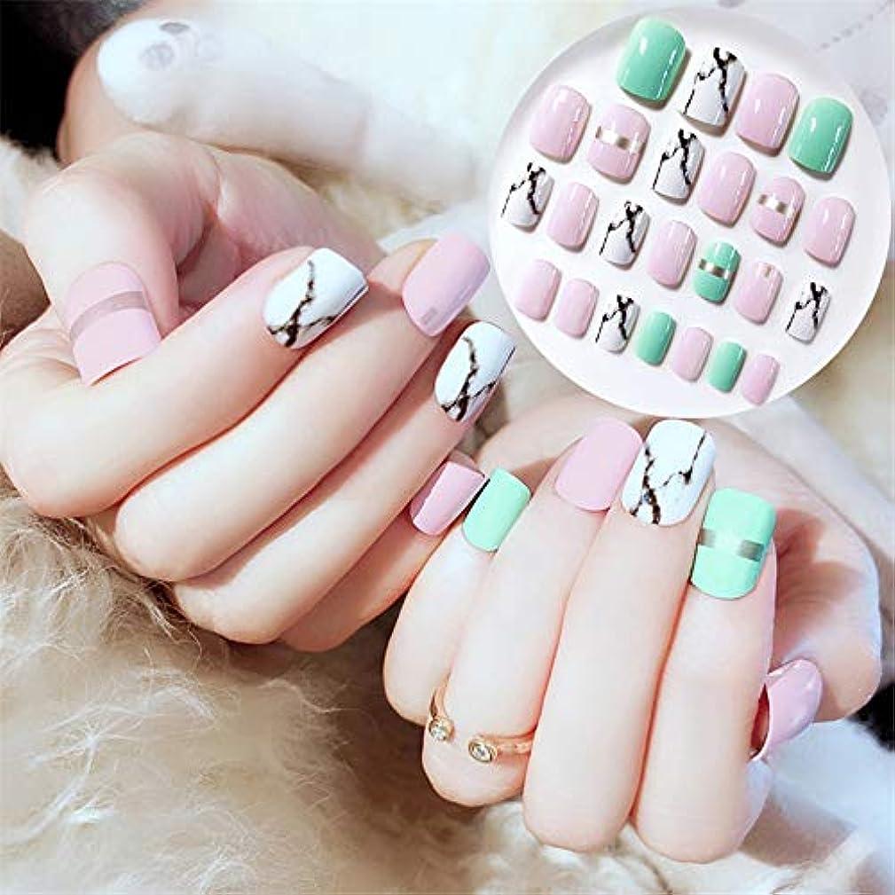 XUTXZKA 24本の短い正方形の偽の爪白大理石ブルーピンクプレス爪の装飾真珠のヒント