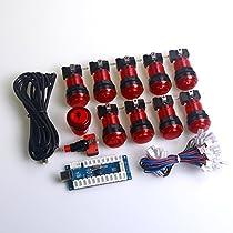 Easyget ゼロ遅延LEDアーケードゲームDIYパーツ10X 5v半透明のLED照光アーケードプッシュボタ + 1x ゼロ遅延USBエンコーダ MEME&格闘ゲーム向け (赤)