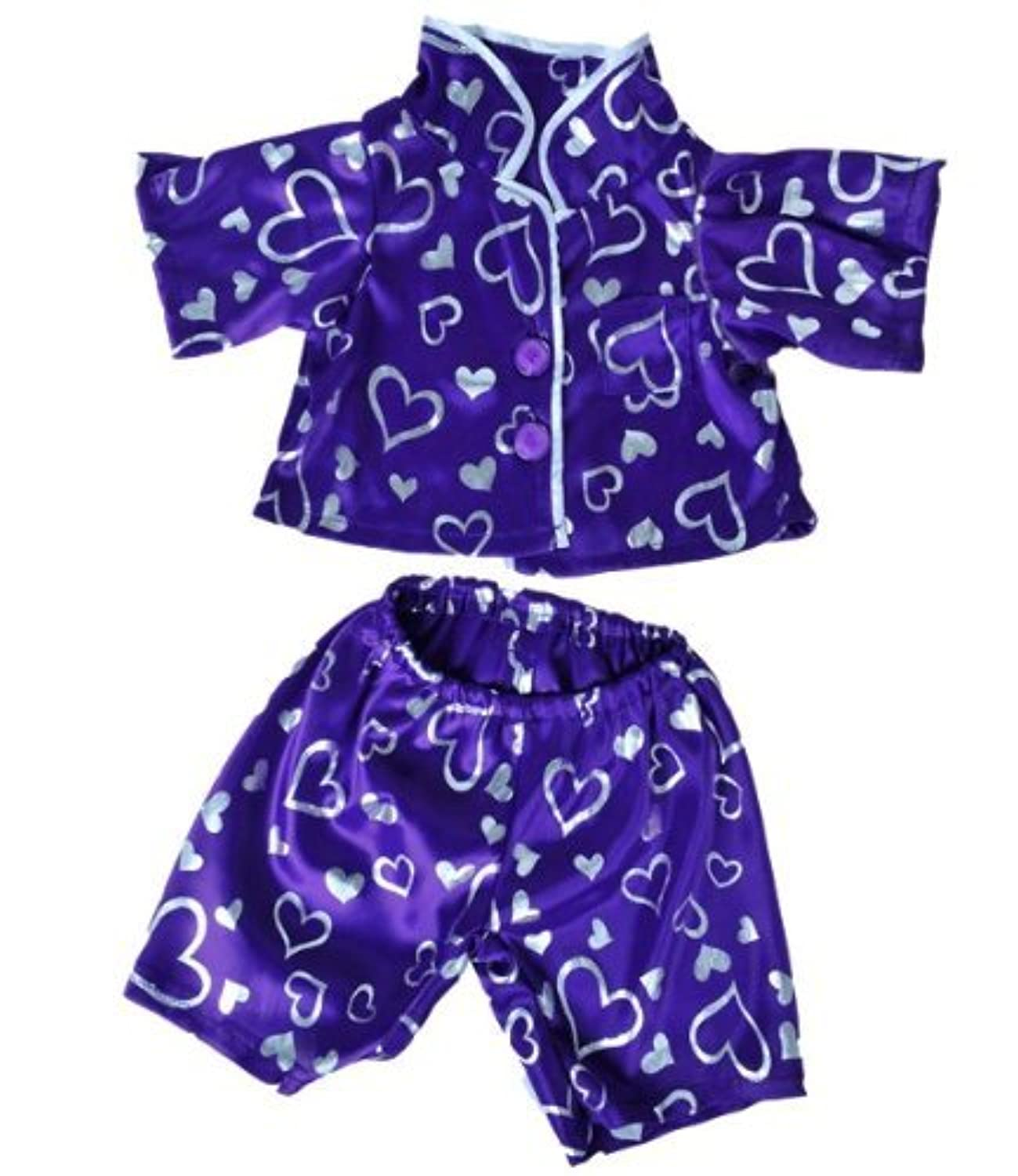 Dark Purple Silver Heart Pj's Teddy Bear Clothes Outfit Fits Most 14 - 18 Build-A-Bear, Vermont Teddy Bears, and Make Your Own Stuffed Animals by Stuffems Toy Shop