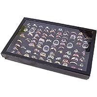 Lookatool Jewelry Rings Display Tray Velvet 100 Slot Case Box Jewelry Storage Box