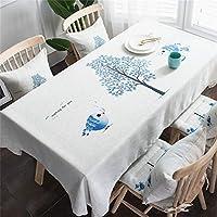 テーブルクロス爽やかな葉のコットンラインテーブルカバー長方形の研究/夕食/コーヒーデスク緑の森の牧歌的なアンペディウムブルー (Size : 130*220cm)
