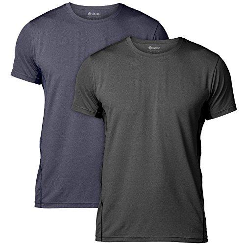 (ラパサ) Lapasa メンズ スポーツシャツ トレニングウェア 半袖 吸汗速乾 抗菌防臭 4色 (M(USサイズ)=日本サイズL相当, 2枚組(ブラック+ネイビー))