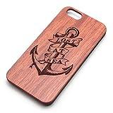 手に馴染む 木製 iPhone カバー ケース 選べるデザイン / 髑髏 スカル 十字架 ゴシック パンク 調 (錨 iPhone 5)