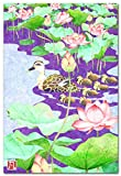 和風イラスト おしゃれな絵葉書 「蓮池とカルガモ」 ぼん蔵ポストカード