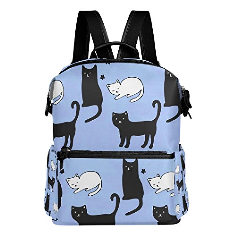 バララ(La Rose) リュックサック 高校生 子供 通学 大容量 かわいい 青い アニメ ネコ 猫柄 リュック レディース 大人 おしゃれ 通勤 軽量 防水 キャンバス バッグ 学生 旅行 収納バック アウトドア デイパック