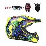 軽量女性フルフェイス 山 バイクヘルメット,アダルト Dh オートバイク ヘルメット と 手袋 ゴーグル マスク-f S