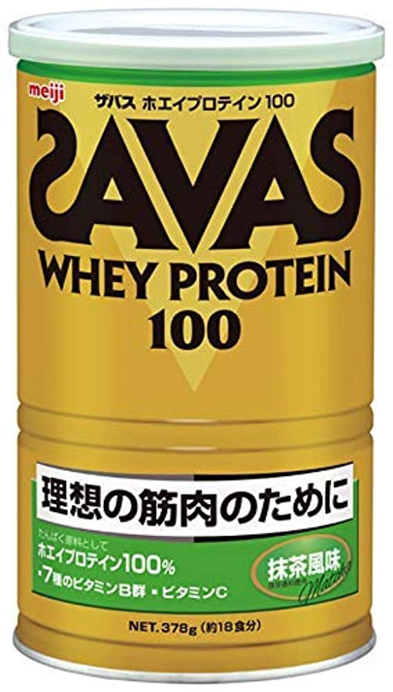 マイク達成お明治 ザバス ホエイプロテイン100 抹茶風味 378g 約18食分 × 10個セット