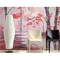 Mingld カスタム3D壁画、美しい手描きの油絵赤もみじ、ホテルのリビングルームのソファテレビ壁の寝室の壁紙-200X140Cm
