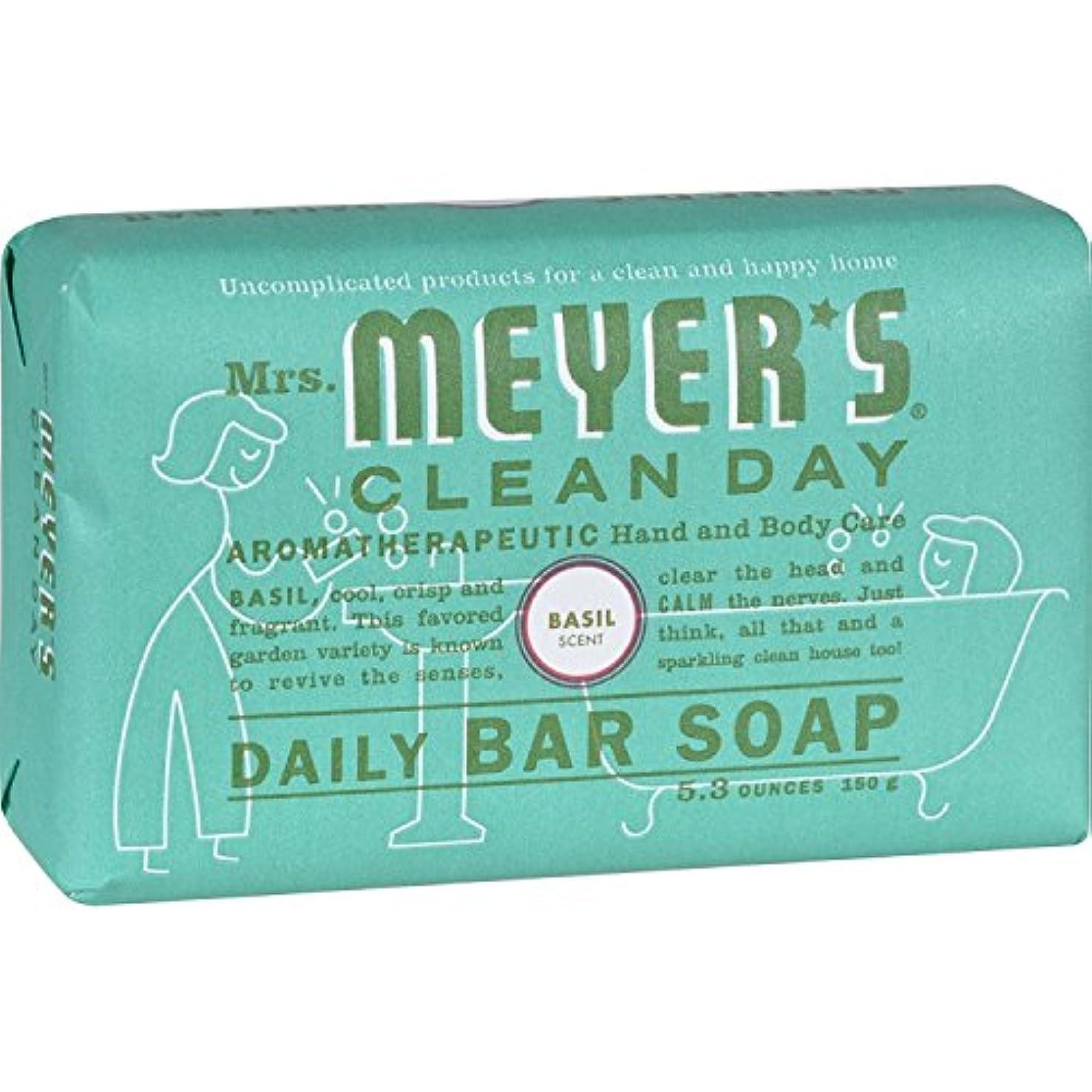 ミント意気揚々繊維Mrs. Meyer's Bar Soap - Basil - 5.3 oz by Mrs. Meyer's Clean Day