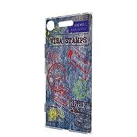 ケース ハードケース Xperia XZ1 (SO-01K・SOV36・701SO) [デニム風・カラースタンプ] ビンテージ スタンプ エクスペリア エックスゼットワン スマホケース 携帯カバー [FFANY] denim-h100@01