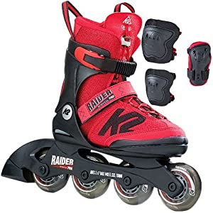 [ケーツー] ジュニア インラインスケート RAIDER PRO PACK レイダー プロパック プロテクター3点セット付き I170200501