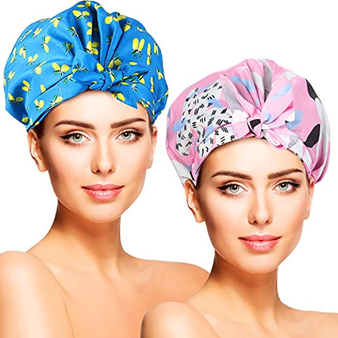 YISUN シャワーキャップ 2枚セット 二重層防水 耐久性 抗菌性 お風呂 シャワー SPA 調理 洗顔用 多機能 実用性 男女兼用