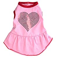The Worthy Dog Bling Heart Dress for Dogs Large Pink [並行輸入品]