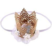 Tonsee ベビー ガールズ ヘアバンド レース 髪飾り 超可愛い フラワークラウン ヘアアクセサリー (ホワイト)