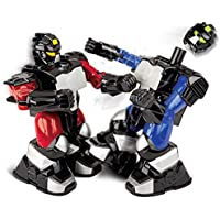 SHARPER IMAGE Remote Control Toy Boxing Battle Robots, Deliver Punches & Jabs in Fights, Dual Wireless Controllers W/Radio Technology, Multi-Direction Movement, Battery Operated, BLUE/RED