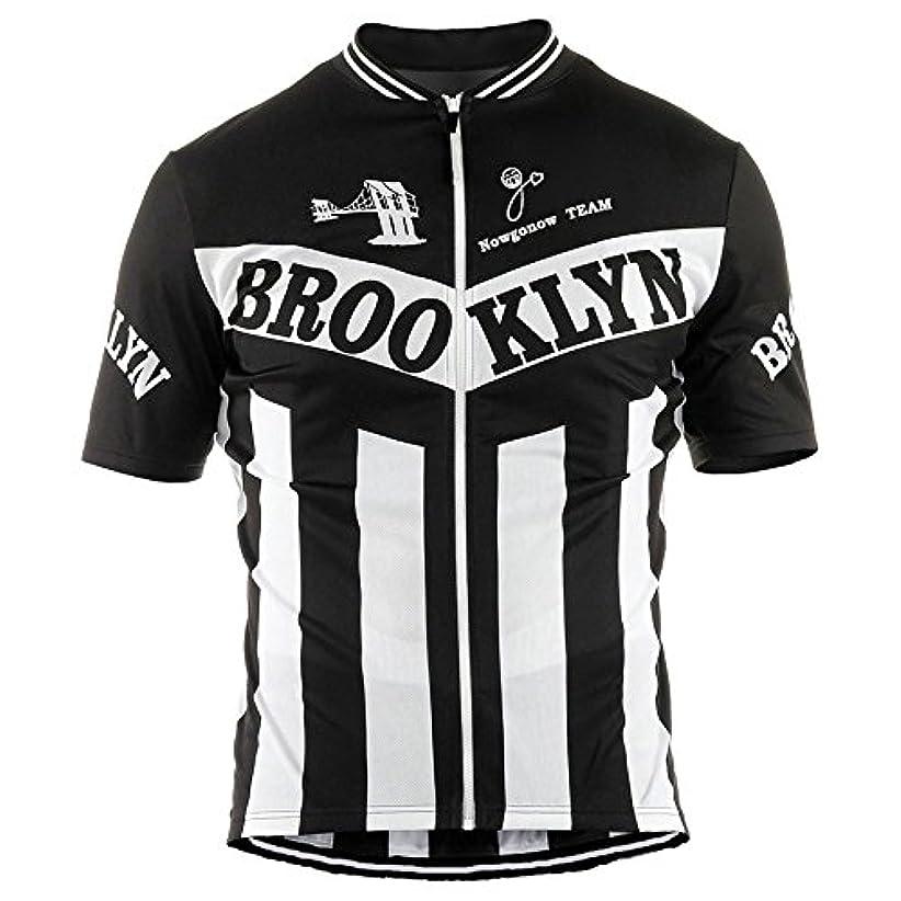 結び目グローブ波NowGoNow サイクルジャージ レトロデザイン No1 ブラック メンズ クールマックス仕様 自転車 MTB サイクリング ロードバイク