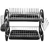 Multi-función Doble Plato de cuenco palillos y cuchara estante de colección de verduras fruta Drain Rack tratamiento de superficie Especial