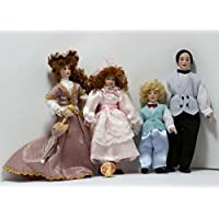 Dollhouse Victorian Family Doll Set of 4 Dressed Beautifully