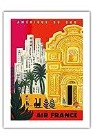 南米 - ビンテージな航空会社のポスター によって作成された ベルナール・ヴィユモ c.1958 -プレミアム290gsmジークレーアートプリント - 46cm x 61cm