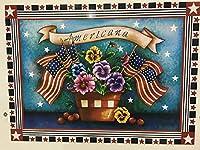 愛国的なアメリカーナ 冷蔵庫または食器洗い機用マグネット 幅23インチ×高さ17インチ