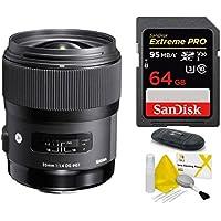 Sigma 35mm f / 1.4DG HSM Artレンズfor Nikon DSLRカメラ( USA保証) + SanDisk 64GB Extreme Pro UHS - I SDXCメモリカード+ SDカードリーダー+レンズクリーニングキット