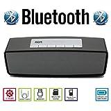AGM Bluetooth スピーカー ステレオ YOUTUBE視聴可 手のひらサイズ 低音専用ウーハー装備 ( ハンズフリー テレホン ) ( LINE IN ) ( USBメモリー ) ( MICRO SD ) 安心の基本機能一年メーカー保証 日本語説明書付 S815 (ブラック)