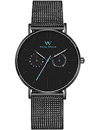 Welly Merck 腕時計 メンズ スイスブランド 日付 曜日 夜光 40MM ブラック 文字盤 20MM メッシュバンド 日常生活防水