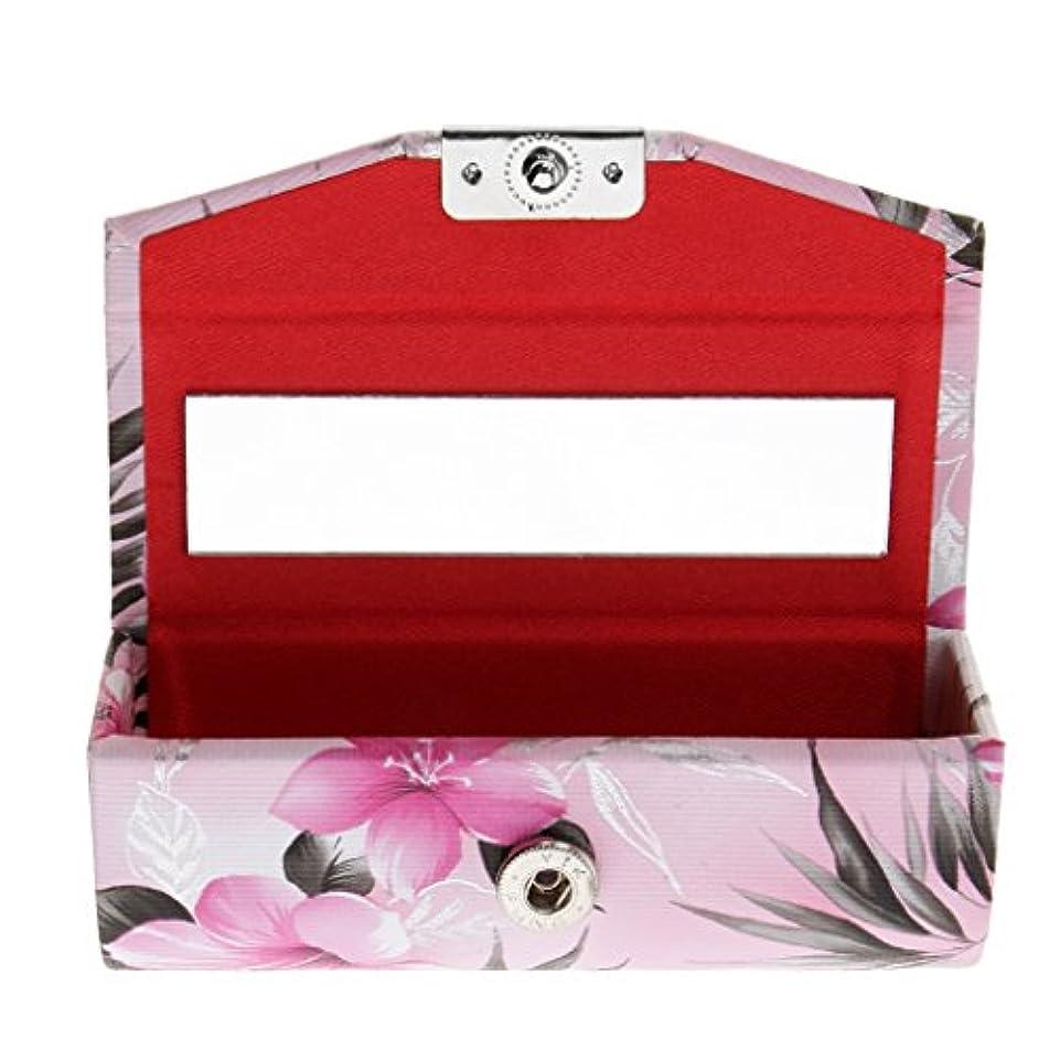 白い貪欲商標Baosity リップスティック 収納ケース 口紅 リップグロス 収納ボックス 化粧ポーチ メイクアップ ミラー付 硬質PVC + PUレザー+金属ボタン 4タイプ選べる - ライトピンク