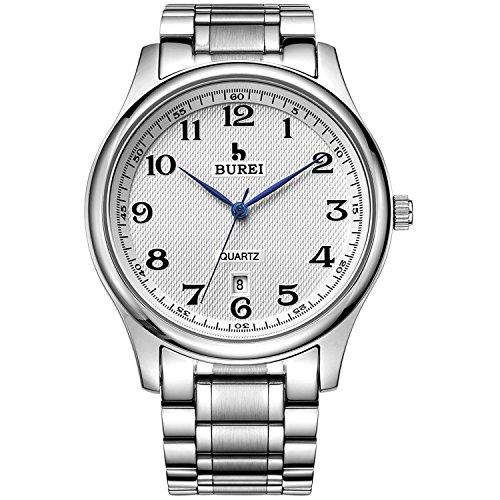 BUREI(バオショ) 腕時計 日付表示 日本製クオーツ ENZOBM-3008-P51AE メンズ(ホワイト文字盤)