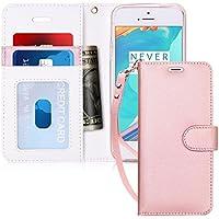 iPhone SE ケース iPhone5S ケース iPhone5 ケース,FYY 手帳型 カード収納 スタンド機能 マグネット開閉 ストラップ付き 耐衝撃 PUレザー スマホケース iPhone SE/5S/5 対応 ローズゴールド