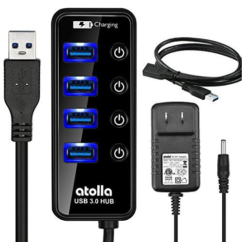 USB3.0 ハブキット 4ポート高速 USB3.0対応+1充電専用ポート (セルフパワー電源付き、個別電源スイッチ付き、1m USB3.0 延長ケーブルコード)