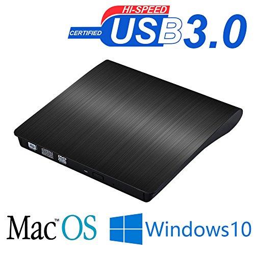 外付けDVDドライブ DVD ドライブ ポータブルドライブ CD/DVD読取・書込 DVD±RW CD-RW USB3.0/2.0 Window10 Mac OS macbook 対応 高速 静音 超スリム 流線型  PC CD dvdドライブ ブラック
