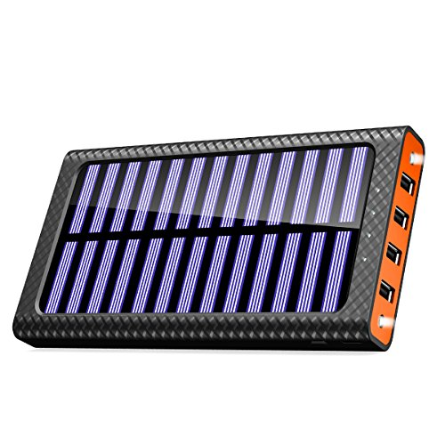 TSSIBE モバイルバッテリー ソーラーチャージャー 24000mAh 二個LEDランプ搭載 QuickCharge 電源充電可能 三つ入力ポート(MicroUSB/Lightning/Type-C入力ポート)四つ出力ポート 電気量指示ランプ付き Android/iPhone /iPad /ゲーム機/カメラ等に対応 災害/旅行/アウトドアに大活躍 (オレンジ)