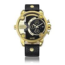 Cagarny元メンズスポーツレザーストラップ2ダイヤル作業できクオーツ腕時計6818ゴールドブラック