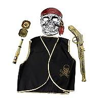 (ビモラ)VIMORA ハロウイン カリビアンコスプレ小道具 子供 パイレーツ 海賊キャプテン コスチューム マスク チョッキ 望遠鏡 羅盤針 ピストル セット
