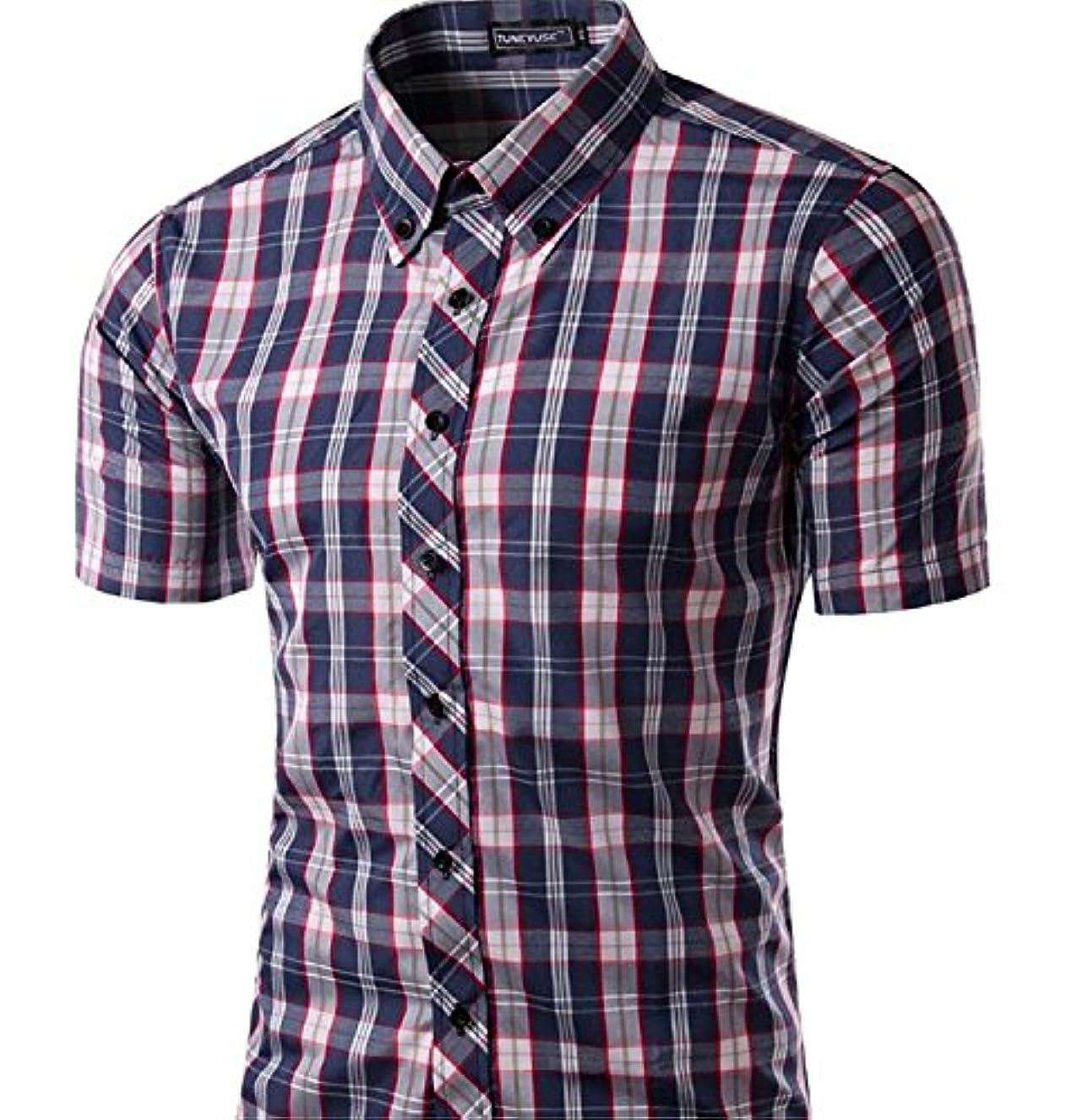 個人役立つ大理石メンズ ボタンダウン チェック柄 シャツ ワイシャツ 半袖 シャツ チェックシャツ カジュアル 格子柄 大きいサイズ ブロード100% おしゃれ インナーシャツ トップス 形態安定 スリム 紳士服 ビジネス シャツ 2グリーン