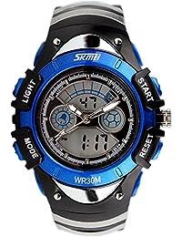 Skmei 5 色 キッズ 子供 ダイバーズ LED ライト 多機能 腕 時計 デジアナ 防水 ストップ ウォッチ スポーツ アウトドア (ブルー)