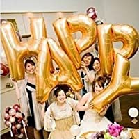【la select】ジャンボ文字 『LOVE』『HAPPY』巨大 アルファベット 風船 バルーン (ハンドポンプ?貼付シール) [ゴールド] (『HAPPY』)