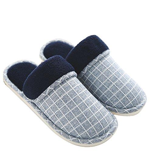 Mianshe スリッパ 冬用 暖かルームシューズ 洗える 滑り止め 男女兼用 室内履き ブルー XL