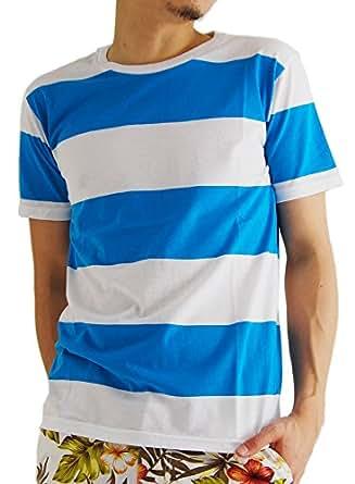 (アーケード) ARCADE 4color メンズ 太ボーダー 半袖 Tシャツ LL ブルー