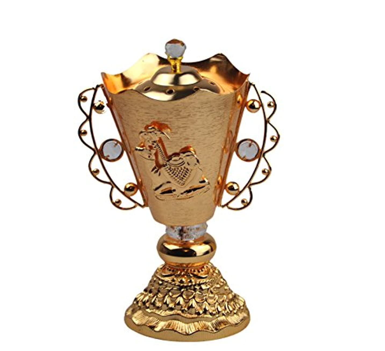 傾いたパラナ川練習したArabia Incense / bakhoor Burner ( Mabkhara ) – Oud Burner、ゴールドメタル、トレイ内側9インチ。 – USA Seller