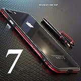 MQman iphone7 アルミバンパー iphone8 ケース 2色 アイホン7合金フレーム 薄型高品質金属アイフォン7バンパーメタルカバー人気合金 当店限定前面強化ガラスフィルム付き 背面強化ガラスフィルム付き (iphone7/8, 赤+黒)