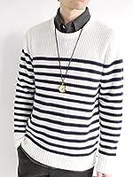 (モノマート) MONO-MART パネルボーダー 厚手 ニット セーター クルーネック ラーベン編み ニットソー ビジネス モード メンズ